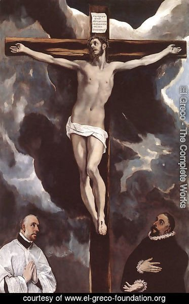 El Greco - Christ on the Cross Adored by Donors