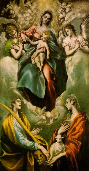 El Greco - Virgin and Child with St. Martina and St. Agnes