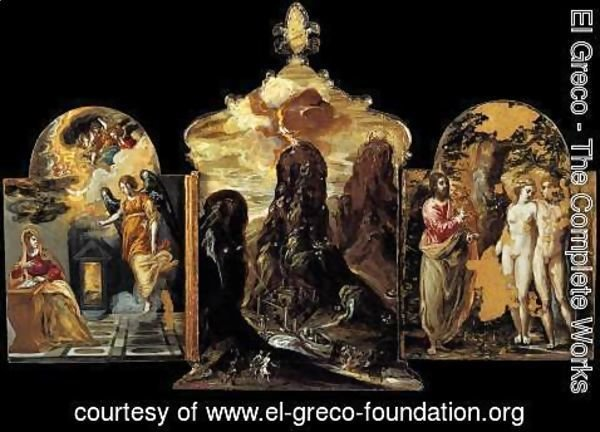El Greco - The Modena Triptych (back panels) 2