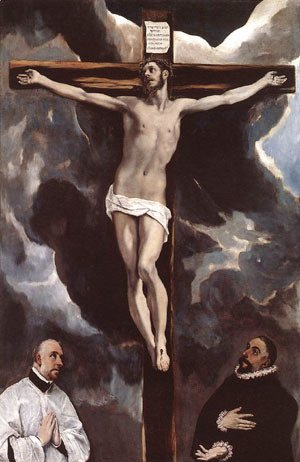 El Greco - Christ On The Cross Adored By Donors 1585-90