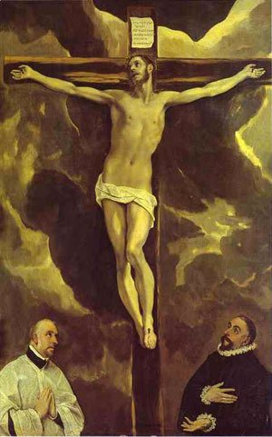 El Greco - Christ On The Cross Adored By Two Donors 1585-1590