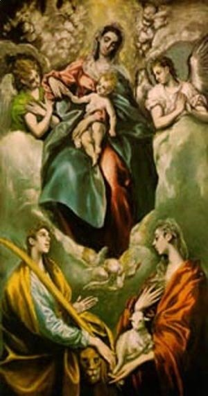El Greco - Virgin And Child With St Martina And St Agnes 1597-99
