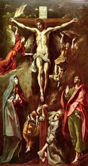 El Greco - Christ on the cross with Mary, John and Mary Magdalene