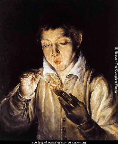 A Boy Blowing on an Ember to Light a Candle (Soplón) 1570-72