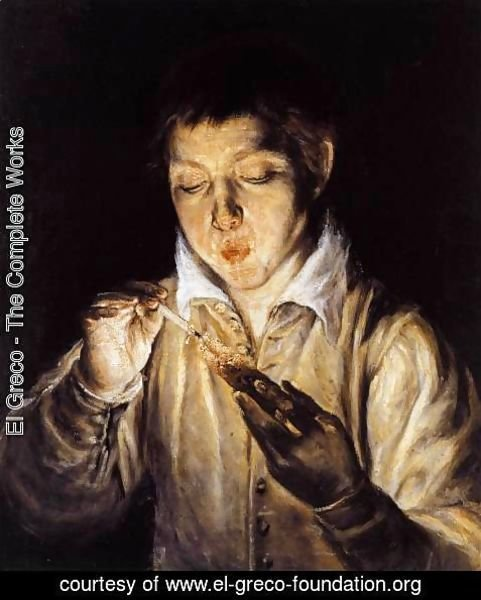 El Greco - A Boy Blowing on an Ember to Light a Candle (Soplón) 1570-72