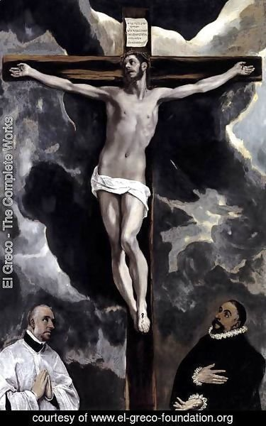El Greco - Christ on the Cross Adored by Two Donors c. 1580