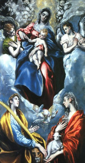 El Greco - Madonna and Child with St. Martina and St. Agnes, 1597-99