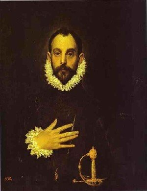 El Greco - Portrait Of A Nobleman With His Hand On His Chest