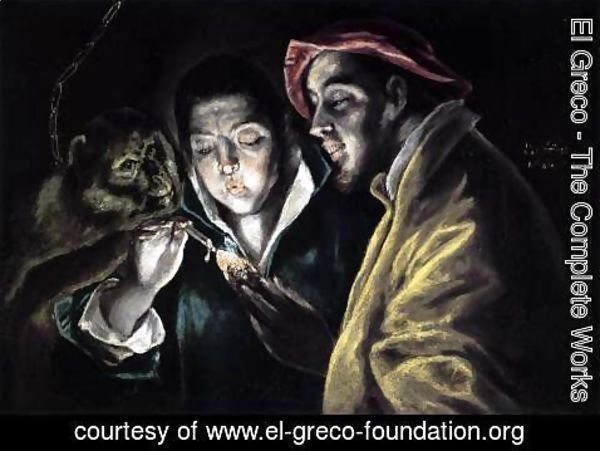 El Greco - An Allegory with a Boy Lighting a Candle in the Company of an Ape and a Fool (Fábula) 1577-79