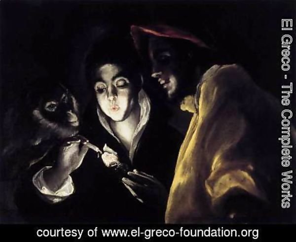 El Greco - An Allegory with a Boy Lighting a Candle in the Company of an Ape and a Fool (Fábula) 1589-92