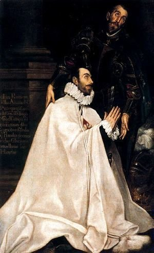El Greco - Julian Romero de las Azanas and his Patron Saint 1585-90