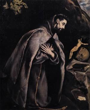 El Greco - St Francis in Prayer before the Crucifix 1585-90