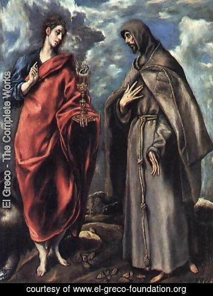 El Greco - St John the Evangelist and St Francis c. 1608