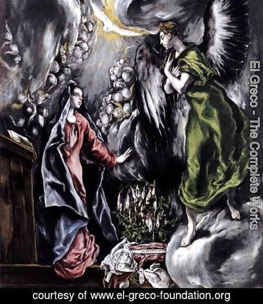 El Greco - The Annunciation (detail 1) 1597-1600