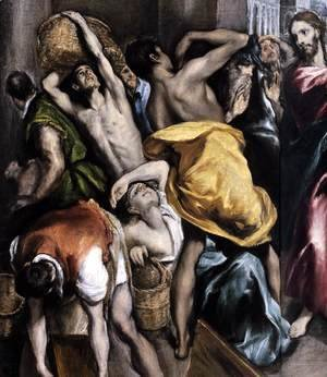 El Greco - The Purification of the Temple (detail 1) c. 1600