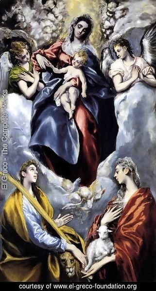 El Greco - The Virgin and Child with St Martina and St Agnes 1597-99